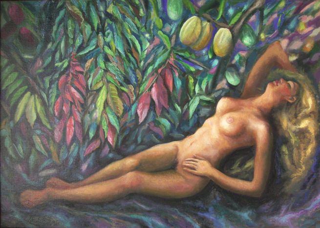 Sergio Michellini. 1996-8 POESIA EN EL CACAOTAL  cm.50x70 (64);  Michellini ha estado muy ligado al arte de murales en Nicaragua, incluyendo obras en la Iglesia Riguero, de Managua.