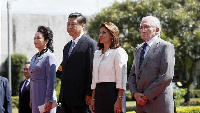 Las familias presidenciales de China y Costa Rica, en los actos protocolarios.