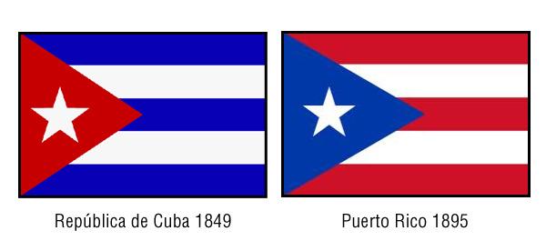 Como hermanas siamesas nacidas en el aborto de 1898, Cuba y Puerto Rico comparten casi las mismas banderas