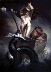 Thor luchando contra la serpiente Midgard. Henry Fuseli, 1788